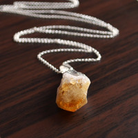 NEW Raw Citrine Necklace, Sterling Silver, November Birthstone Jewelry, Golden Yellow Gemstone Pendant, Adjustable Long Chain, Free Shipping