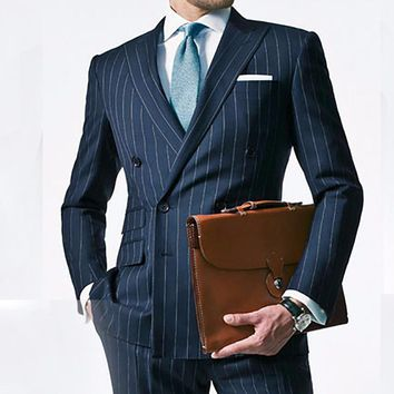 Chalk Stripe Men Suit Custom Made Navy Blue Mens Striped Suit,Tailored Double Breasted Suit With Ticket Pocket