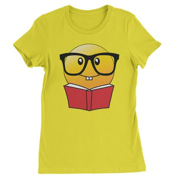 Emoticon Book Nerd with Glasses Womens T-shirt