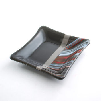 Grey and Orange Fused Glass Dish, Jewelry Holder, Square Shape Decorative Bowl, Bedroom Decor, Dresser Tray, Unique Gifts for Men