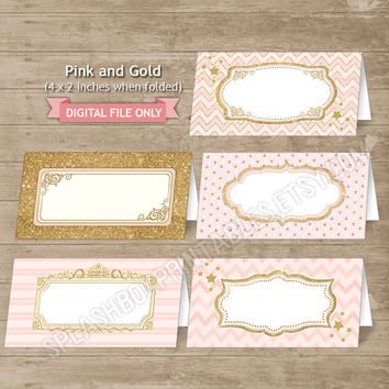 Pink and Gold EDITABLE Food Labels Pink Gold Sparkle Party Place Cards Printable Food Label Tents - Royal Princess INSTANT DOWNLOAD