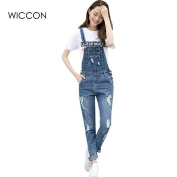 DCCKU62 Spring Fashion Ripped Jeans Jumpsuits Ladies Girls long  Pants Casual Women Rompers bib overalls Suspenders
