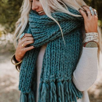 Desert Cozy Chunky Knitted Oversized Scarf - Teal