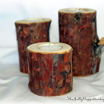 Set of 3 Rustic Candle Holders, Juniper Wood, Christmas Décor, Rustic Wedding Décor , Home Décor, Country Wedding, Cabin Motif