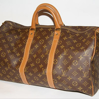 Authentic Louis Vuitton vintage French Company Monogram Keepall 45 duffle bag