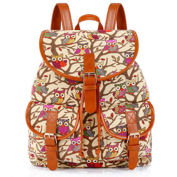 Vintage Classical Owl Printing Canvas Backpack