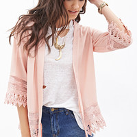 FOREVER 21 Open Crochet Cardigan Peach