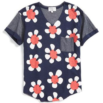 Girl's Wildfox 'Pop Flowers - Shore' Graphic V-Neck Tunic,