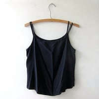 silk camisole / cropped silk tank top / 90s black silk top
