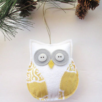 owl decoration, grey and mustard yellow owl, grey and yellow nursery, spring decoration, gift under 15 by whimsy sweet whimsy