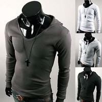 Jeansian Fashion Mens T-Shirts Top Tee Slim Hooded Casual 4 color 4 size D416