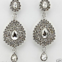 ELEGANT SILVER EARRINGS CHANDELIER TEAR DROP CRYSTAL DIAMANTE DANGLING EVENING