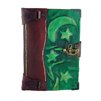 6x9 Green Moon & Stars Leather Journal