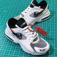 Off White X Nike Air Max 93 Black Sport Running Shoes - Sale