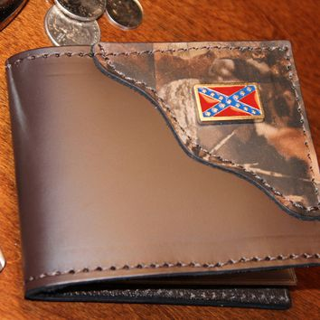 Handcrafted Leather Bifold Wallet with Camo Corner and Rebel Flag accent in corner...Personalized Free!