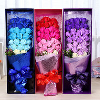 The new creative wedding gifts on valentine's day gift box jewelry creative soap flowers gift box 33 Chinese valentine's day roses girlfriend soap soap flowers gift box holding flowers