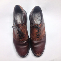 Vintage Brown and Maroon Dexter Men's Oxford shoes, size 10.5