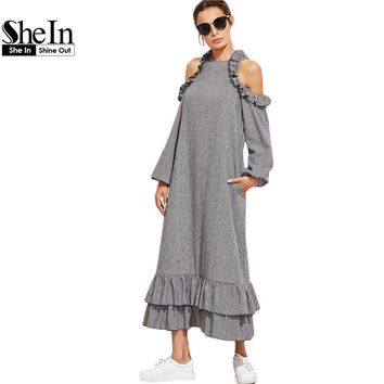 SheIn 2017 Women Dresses Autumn Casual Dress Black and White Checkered Cold Shoulder Long Sleeve Ruffle Long Dress