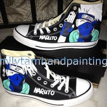 DCCK1IN naruto anime kakashi inspired hand painted converse shoes custom converse all star sn