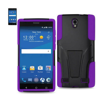 Reiko Silicon Case+Protector Cover ZTE Zmax 2 Z958 Purple Black New Type Kickstand