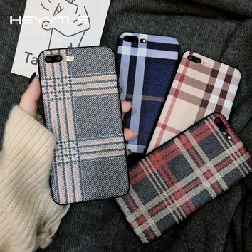 Heyytle Cloth Grid Phone Cover For Apple iPhone X 8 7 6S 6 Plus Case Lattice Cute Soft Back Cover Litchi Skin Case For iPhone 10