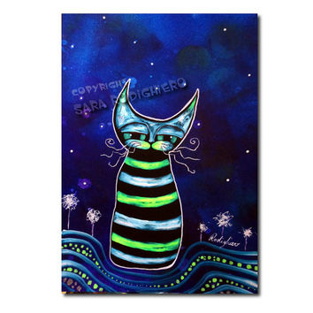 I'm not tired at all - orig. cat illustration on paper - Acrylic paint & watercolor - funny cats - pop art cat - LOL cats -