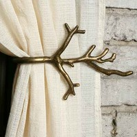 Branch Curtain Tie-Back- Antique Brass One