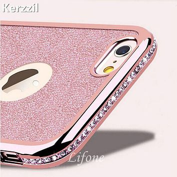 Kerzzil For iPhone 7 6 6S Plus 5s SE 3D Diamond Rug Bumpers Soft TPU Case + Bling Card Cover For iPhone X 6 6S 8 Plus Capa