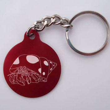 Laser-Etched Hermit Crab Key Chain: Blue Circle Hermit Crab Key Chain