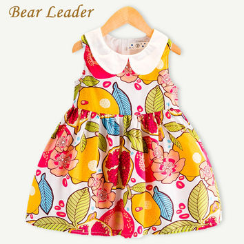 Bear Leader Girls Dress 2017 Summer Fashion Style Peter pan Collar Baby Girls Dress Sleeveless Ruit Printing for Kids Dresses