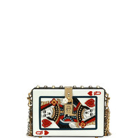 Dolce & Gabbana Queen of Hearts Box Clutch Bag, Black/Red