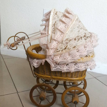 Antique Doll Stroller, Dutch Style, Wicker Buggy, Pram, Vintage doll carriage, Rattan Lace Collectible Stroller, photo prop, doll furniture
