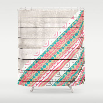 Andes Tribal Aztec Coral Teal Chevron Wood Pattern Shower Curtain by Girly Trend