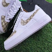 Gucci x NIKE Air Force Trending Unisex Leisure Running Sport Shoes Sneakers I