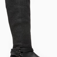 Black Faux Wool Double Buckle Calf Length Boots