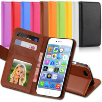 High Quality! Retro Luxury PU Leather Case For iphone 5C 5S 5G Photo Frame With Wallet  Stand Cover Cell Phone Bags  SGS02585