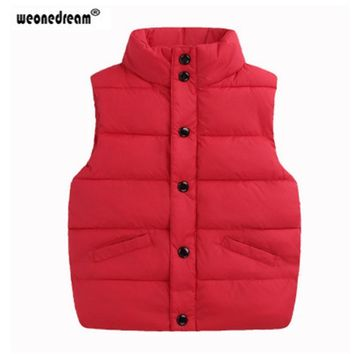 WEONEDREAM 2018 Kids Clothes Winter Coats Children Boys Girls Vest Stand Collar Down Jacket Unisex Vests Waistcoat girl