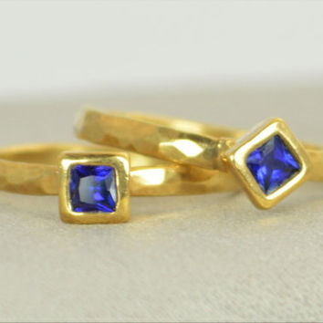 Square Sapphire Ring, Sapphire  Gold Ring, September's Birthstone Ring, Square Stone Mothers Ring, Square Stone Ring, Sapphire Ring