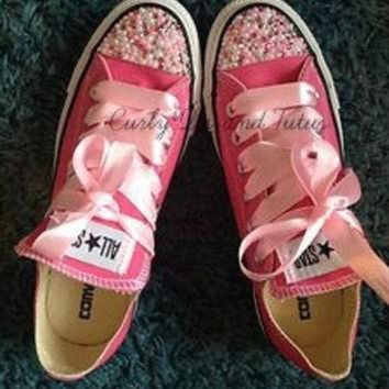 CREYUG7 Adult ' Pearl Bling' converse in your choice of color & ribbon shoelace to match. Supe
