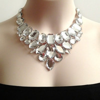 crystal clearl bib necklace,bridesmaids, prom, wedding statement necklace gift or for you