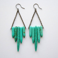 FREE SHIP - Turquoise Shield Earrings - Summer & Fall Fashion Jewelry - Free Shipping in the US