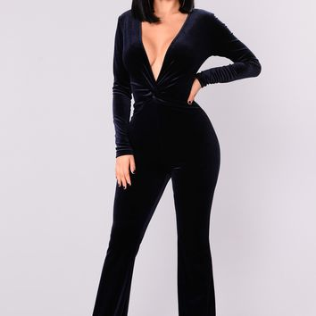 Jump In The Cadillac Velvet Jumpsuit - Navy