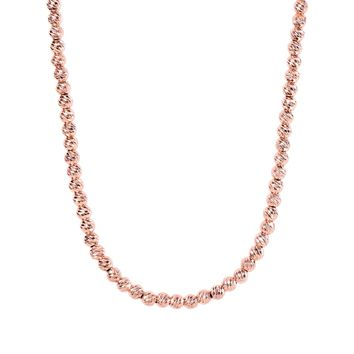 Silver Rose Finish 4.8mm Shiny Diamond Cut Bead Chain with Pear Shape Clasp