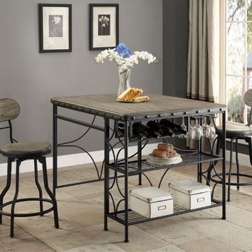 Crown mark CM1773T-3648 5 pc Kenneth faux finish wood top counter height craft / dining table set