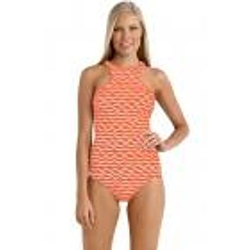 High-Neck Tidal Wave Swimsuit