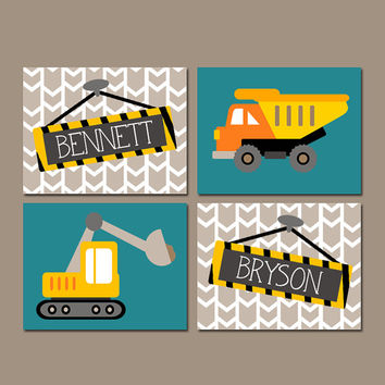 CONSTRUCTION Wall Art, Canvas or Prints, Shared Boy Brother Decor, Dump TRUCK Theme, Personalized Name Pictures, Transportation, Set of 4