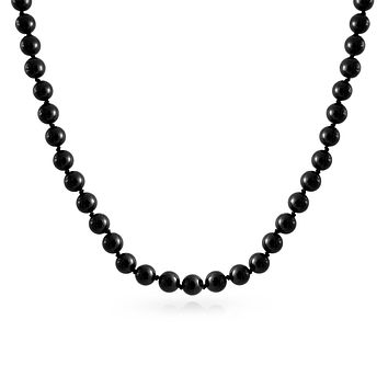 Black Strand Layering Simulated Pearl Sterling Silver Clasp Necklace 20 inch