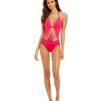 Kenneth Cole New York Strappy Hour Pluge Cut-Out One-Piece Swimsuit | Dillards