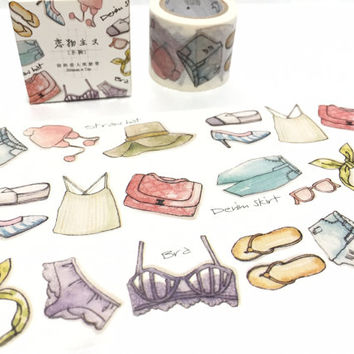 girl closet washi tape 7M x 3cm cool closet pretty girly closet masking tape fashion design label dressing room sticker tape planner gift