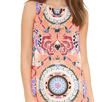 Retro Print Slim Tank Dress